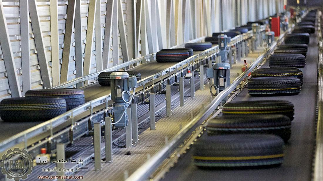 دستگاه تسمه نقاله در خط تولید لاستیک ماشین